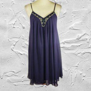 Express Purple Beaded Sleeveless Party Dress Sz S